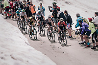 2nd group of chasers led by Domenico Pozzovivo (ITA/Bahrain-Merida) up the gravel roads of the Colle delle Finestre <br /> <br /> stage 19: Venaria Reale - Bardonecchia (184km)<br /> 101th Giro d'Italia 2018