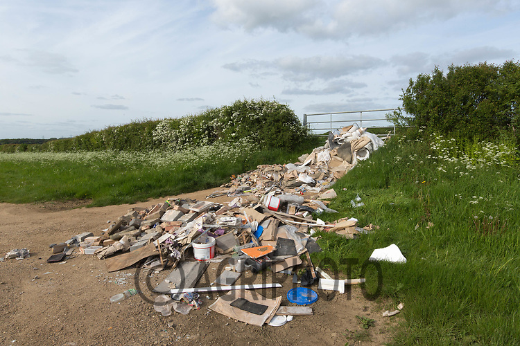 Builders rubbish dumped in a farmers gateway<br /> ©Tim Scrivener Photographer 07850 303986<br /> ....Covering Agriculture In The UK....