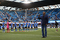 SAN JOSE, CA - AUGUST 17: National anthem before a game between Minnesota United FC and San Jose Earthquakes at PayPal Park on August 17, 2021 in San Jose, California.