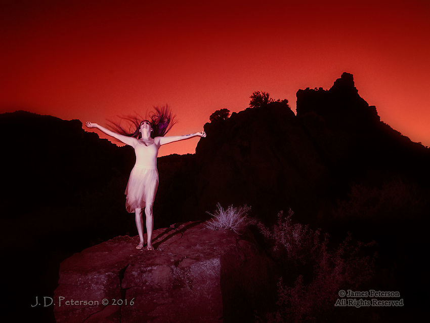 Evening Ecstasy (Infrared) © 2016 James D Peterson.  Mollie is a wonderful model with whom to work, and she was picture perfect in this sunset photo session.