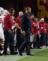 LOS ANGELES, CA - SEPTEMBER 11: Head coach David Shaw of the Stanford Cardinal talks on his Nextiva headset during a game between University of Southern California and Stanford Football at Los Angeles Memorial Coliseum on September 11, 2021 in Los Angeles, California.