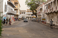 Senegal, Saint Louis.  Street Scene.  Architecture from the French Colonial Era.