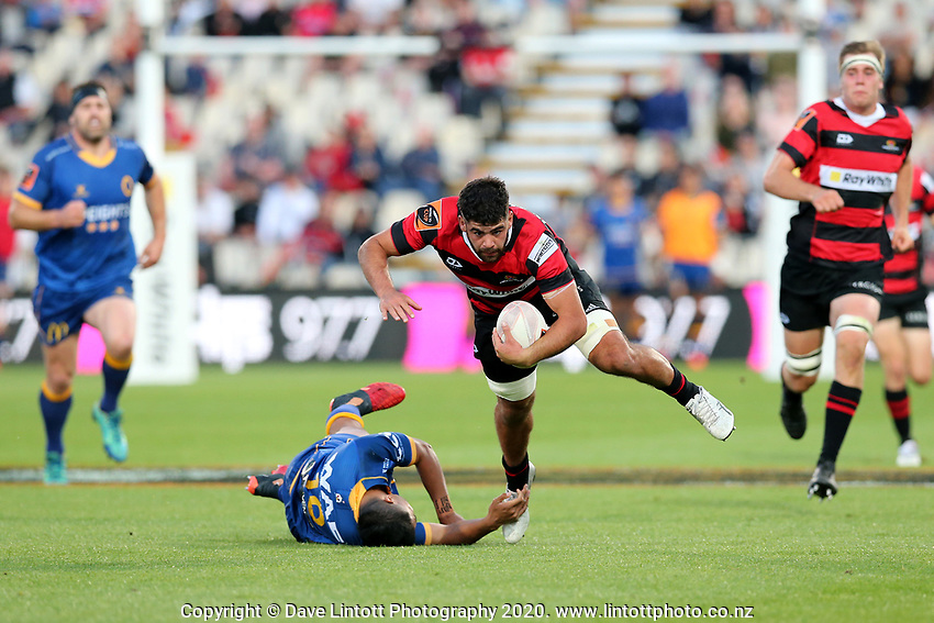 Action from the 2020 Mitre 10 Cup rugby match between Canterbury and Otago at Orangetheory Stadium in Christchurch, New Zealand on Friday, 30 October 2020. Photo: Martin Hunter / lintottphoto.co.nz