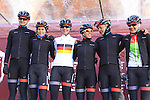 Velocio-Sram team at sign on before start the 2015 Strade Bianche Women Elite cycle race 103km over the white gravel roads from San Gimignano to Siena, Tuscany, Italy. 8th March 2015<br /> Photo: Eoin Clarke www.newsfile.ie