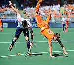 The Hague, Netherlands, June 13: Iain Lewers #24 of England and Jelle Galema #20 of The Netherlands in action during the field hockey semi-final match (Men) between The Netherlands and England on June 13, 2014 during the World Cup 2014 at Kyocera Stadium in The Hague, Netherlands. Final score 1-0 (1-0)  (Photo by Dirk Markgraf / www.265-images.com) *** Local caption ***