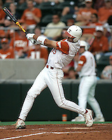 Texas CF Jordan Danks follows through on the first of his two triples against Texas A&M on May 16th, 2008 in Austin Texas. Photo by Andrew Woolley / Four Seam Images.