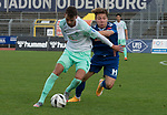 11.10.2020, Marschwegstadion, Oldenburg, GER, RL Nord,, Gruppe Süd VfB Oldenburg vs SV Werder Bremen U23,  DFL regulations prohibit any use of photographs as image sequences and/or quasi-video, im Bild<br /> Marin PUDIC (SV Werder Bremen U23 #14 ) Rafael BRAND (VfB Oldenburg #7 ) <br /> <br /> Foto © nordphoto / Rojahn