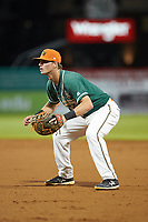 Greensboro Grasshoppers first baseman Micah Brown (10) on defense against the West Virginia Power at First National Bank Field on June 1, 2018 in Greensboro, North Carolina. The Grasshoppers defeated the Power 10-3. (Brian Westerholt/Four Seam Images)