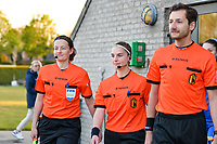 Assistant referee Joline Delcroix, match referee Jana van Laere and assistant referee Bryan Bijnens  pictured entering the pitch before a female soccer game between  Racing Genk Ladies and Eendracht Aalst on the 5 th matchday of play off 2 in the 2020 - 2021 season of Belgian Scooore Womens Super League , friday 7 th of May 2021  in Genk , Belgium . PHOTO SPORTPIX.BE | SPP | JILL DELSAUX
