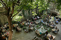 Cafe in a sunken courtyard of the Suleymaniye Mosque complex, Istanbul, Turkey