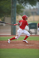 AZL Reds Yan Contreras (51) at bat during an Arizona League game against the AZL Athletics Green on July 21, 2019 at the Cincinnati Reds Spring Training Complex in Goodyear, Arizona. The AZL Reds defeated the AZL Athletics Green 8-6. (Zachary Lucy/Four Seam Images)