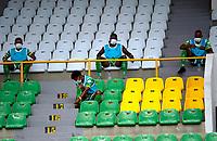 ARMENIA-COLOMBIA, 08-10-2020: Deportes Quindío y Leones F.C., durante partido por la fecha 11 del Torneo BetPlay DIMAYOR I 2020 en el estadio Centenario de la ciudad de Armenia. / Deportes Quindío y Leones F.C., during a match for the 11th date of the BetPlay DIMAYOR I 2020 tournament at the Centenario stadium in Armenia city. / Photo: VizzorImage / Ricardo Vejarano / Cont.