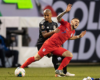 CHICAGO, IL - JULY 7: Tyler Boyd #21 is fouled by Luis Rodriguez #21 during a game between Mexico and USMNT at Soldier Field on July 7, 2019 in Chicago, Illinois.