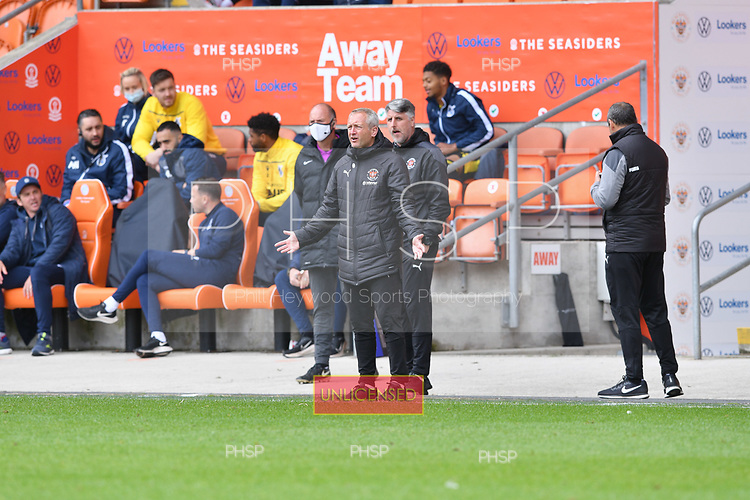 09/05/2021 Sky Bet League 1 Blackpool v Bristol Rovers  <br /> <br /> Exasperated Blackpool Head Coach, Neil Critchley