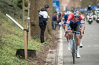 Mathieu Van der Poel (NED/Alpecin-Fenix) throwing in another effort up the Tiegemberg<br /> <br /> 64th E3 Classic 2021 (1.UWT)<br /> 1 day race from Harelbeke to Harelbeke (BEL/204km)<br /> <br /> ©kramon