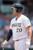 George Kottaras (20) of the Charlotte Knights steps up to the plate during the game against the Norfolk Tides at BB&T BallPark on June 7, 2015 in Charlotte, North Carolina.  The Tides defeated the Knights 4-1.  (Brian Westerholt/Four Seam Images)