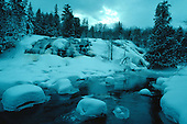 Bond Falls on the middle branch of the Ontonagon River in Ontonagon county in Michigan's Upper Peninsula during winter.