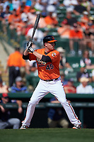 Baltimore Orioles first baseman Mark Trumbo (45) at bat during a Spring Training game against the Minnesota Twins on March 7, 2016 at Ed Smith Stadium in Sarasota, Florida.  Minnesota defeated Baltimore 3-0.  (Mike Janes/Four Seam Images)