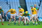 Daniel Collins, Kerry in action against Joe Maskey, Antrim during the Joe McDonagh Cup Final match between Kerry and Antrim at Croke Park in Dublin.