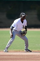 Chicago White Sox second baseman Tim Anderson (12) during an Instructional League game against the Los Angeles Dodgers on October 8, 2013 at Camelback Ranch Complex in Glendale, Arizona.  (Mike Janes/Four Seam Images)