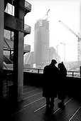 Berlin, Germany  .1998.German tourists look on as the new Sony Center is built in Potsdamer Platz. It will be at the center of the new Berlin and is being built where the wall once separated the city in to East and West just ten-years ago..