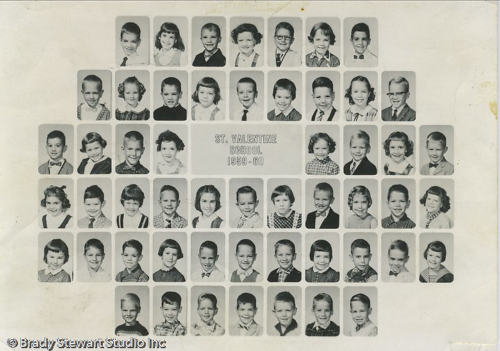 Bethel Park PA: St Valentine's Elementary School 1st Grade Class.  Rick Sebak, Shawn McCracken, Mike Stewart, David Laurash, Tony Zimmer, David Cipcic, Mike Stalter, Kenny Kass
