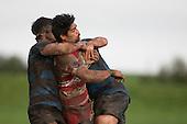 Tenina Sauileoge gets tackled by Nathan Sunde and Winiata Taupo. Counties Manukau Premier Club Rugby game between Karaka and Onewhero, played at Karaka on Saturday June 25th 2016. Karaka won the game 15 - 10 after leading 10 - 3 at halftime.<br />  Photo by Richard Sprnger.
