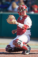 Catcher Tyler Ogle (35) during the NCAA matchup between the University of Arkansas-Little Rock Trojans and the University of Oklahoma Sooners at L. Dale Mitchell Park in Norman, Oklahoma; March 11th, 2011.  Oklahoma won 11-3.  Photo by William Purnell/Four Seam Images