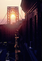 Sunset through the George Washington Bridge<br />