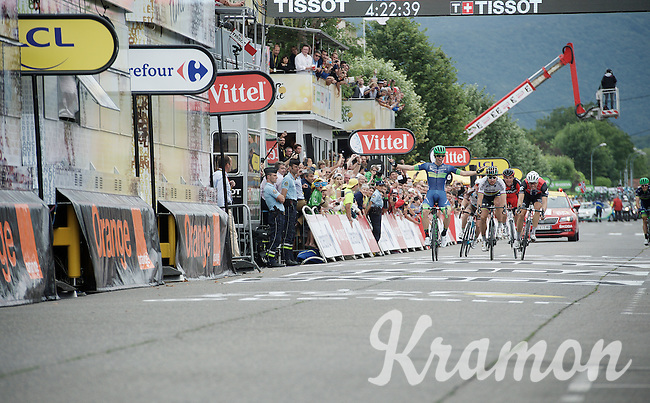 Michael Matthews (AUS/Orica-BikeExchange) beating Peter Sagan (SVK/Tinkoff) & Edvald Boasson Hagen (Nor/DimensionData) to the line in <br /> stage 10 of the 2016 Tour de France