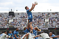 14th March 2021; Eden Park, Auckland, New Zealand;  Sam Darry gathers lineout ball, <br /> Blues v Highlanders, Super Rugby Aotearoa. Eden Park, Auckland. New Zealand. Sunday 14 March 2021.