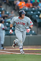 Jordan Procyshen (34) of the Salem Red Sox hustles down the first base line against the Winston-Salem Dash at BB&T Ballpark on June 16, 2016 in Winston-Salem, North Carolina.  The Dash defeated the Red Sox 7-1.  (Brian Westerholt/Four Seam Images)