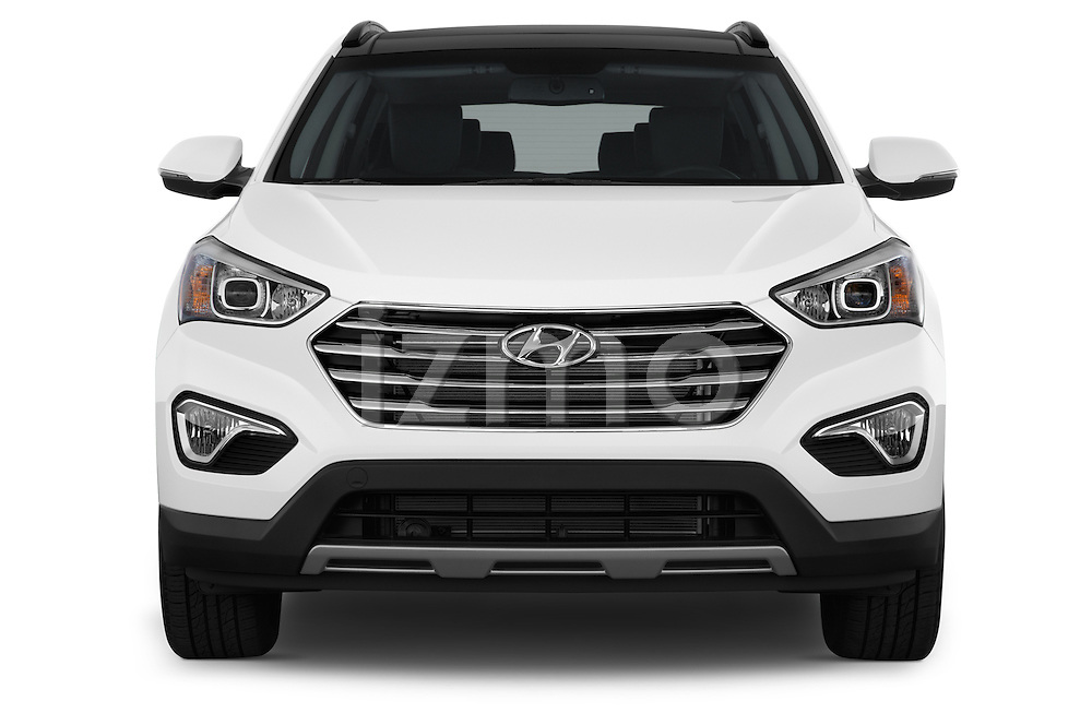 Car photography straight front view of a 2014 Hyundai Santa Fe GLS 5 Door SUV Front View