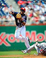 4 July 2009: Washington Nationals' second baseman Anderson Hernandez turns a double-play to end the third inning against the Atlanta Braves at Nationals Park in Washington, DC. The Nationals rallied with 4 runs in the 8th to defeat the Braves 5-3 and take the second game of the 3-game weekend series. Mandatory Credit: Ed Wolfstein Photo