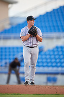 Jupiter Hammerheads starting pitcher Ryan Lillie (21) gets ready to deliver a pitch during a game against the Dunedin Blue Jays on August 14, 2018 at Dunedin Stadium in Dunedin, Florida.  Jupiter defeated Dunedin 5-4 in 10 innings.  (Mike Janes/Four Seam Images)