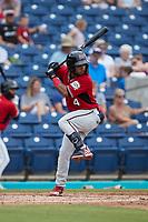 Felix Valerio (4) of the Carolina Mudcats at bat against the Kannapolis Cannon Ballers at Atrium Health Ballpark on July 18, 2021 in Kannapolis, North Carolina. (Brian Westerholt/Four Seam Images)