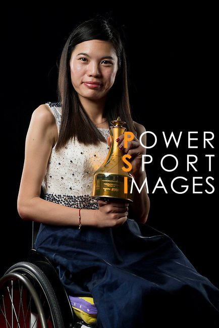 Liu Jing of China poses backstage with her Female Para Table Tennis Star trophy during the ITTF Star Awards on 8th December 2016, in Doha, Qatar. Photo by Victor Fraile / Power Sport Images