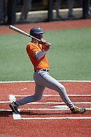 Griffin Paxton (22) of the UTSA Roadrunners follows through on his swing against the Charlotte 49ers at Hayes Stadium on April 18, 2021 in Charlotte, North Carolina. (Brian Westerholt/Four Seam Images)