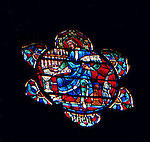 """East Liberty section of Pittsburgh PA: Johann Sabastian Bach window in the West Transept. This image is included in the book; """"The Art and Architecture of the East Liberty Presbyterian Church"""".  This image is part of four windows that honor the role of music in the worship of God."""