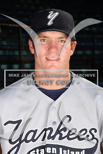 Staten Island Yankees catcher Jeff Farnham poses for a photo before a game vs. the Jamestown Jammers at Russell Diethrick Park in Jamestown Jammers, New York July 15, 2010.   Jamestown defeated Staten Island 5-1.  Photo By Mike Janes/Four Seam Images