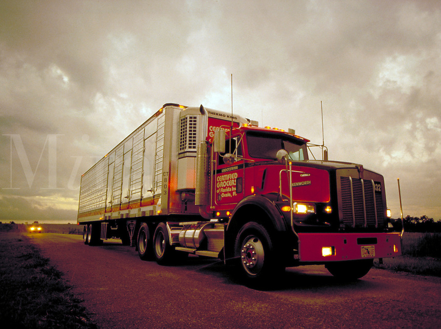 Semi with trailer at dawn. Transportation. Industry. Truck.