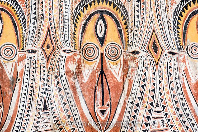 Traditional painting on a Spirit House or Haus Tambaran. Apangi Village, East Sepik Province, Papua New Guinea. June