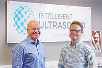 Pictured L-R: Stuart Gall, CEO and Nicholas Sleep, chief technical officer. Monday 01 July 2019<br /> Re: Intelligent Ultrasound in Cardiff, Wales, UK.