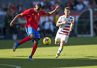 CARSON, CA - FEBRUARY 1: Keyner Brown #6 of Costa Rica clears out the ball during a game between Costa Rica and USMNT at Dignity Health Sports Park on February 1, 2020 in Carson, California.