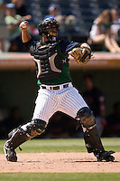 Charlotte Knights catcher Gustavo Molina makes a throw to second base versus the Indianapolis Indians at Knights Stadium in Fort Mill, SC, Sunday, August 13, 2006.