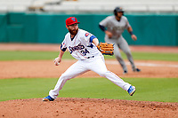 Tennessee Smokies relief pitcher Ben Leeper (34) delivers a pitch to the plate against the Montgomery Biscuits on May 9, 2021, at Smokies Stadium in Kodak, Tennessee. (Danny Parker/Four Seam Images)
