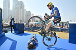 Vittorio Brumotti shows off his skills at sign on before the  start of Stage 5 The Meraas Stage final stage of the Dubai Tour 2018 the Dubai Tour's 5th edition, running 132km from Skydive Dubai to City Walk, Dubai, United Arab Emirates. 10th February 2018.<br /> Picture: LaPresse/Massimo Paolone | Cyclefile<br /> <br /> <br /> All photos usage must carry mandatory copyright credit (© Cyclefile | LaPresse/Massimo Paolone)