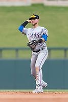 Surprise Saguaros second baseman Charles Leblanc (12), of the Texas Rangers organization, throws to first base during an Arizona Fall League game against the Salt River Rafters at Salt River Fields at Talking Stick on October 23, 2018 in Scottsdale, Arizona. Salt River defeated Surprise 7-5 . (Zachary Lucy/Four Seam Images)