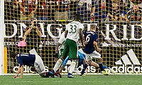 Foxborough, Massachusetts - September 1, 2018: In a Major League Soccer (MLS) match, New England Revolution (blue/white) tied Portland Timbers (white/green), 1-1, at Gillette Stadium.<br /> Goal.