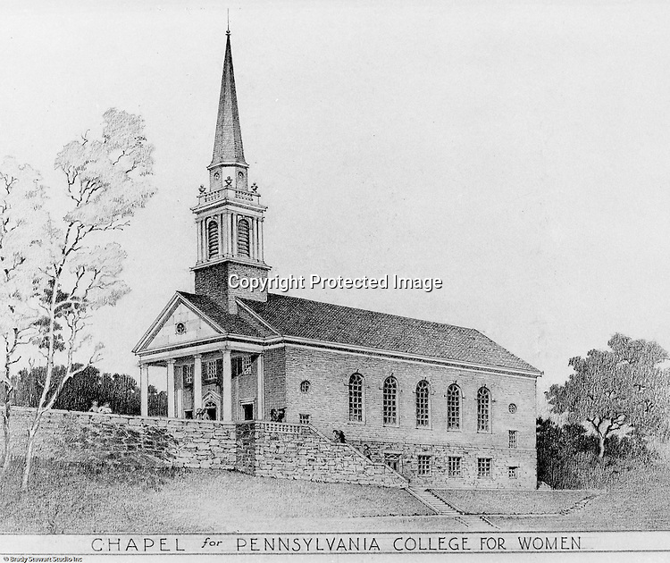 Pittsburgh PA:  View of an Ingham, Boyd and Pratt Architect's rendering of the Chapel for Pennsylvania College for Women.  Pennsylvania College for Women changed its name in 1955 to Chatham College.